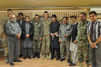 Capt. Matthew Kukta of the 3rd Cavalry Regiment Police Advisor Team hosted the first Nangahar province public affairs shura at Operation Base Fenty, Afghanistan, Nov. 12, 2014.