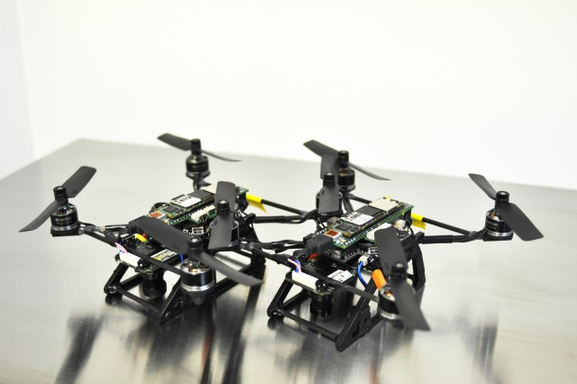 These nano-quads are the size that the U.S. Army Research Laboratory Micro-Autonomous Systems Technology consortium of researchers envision. The current state is about as compact as a microwave oven.