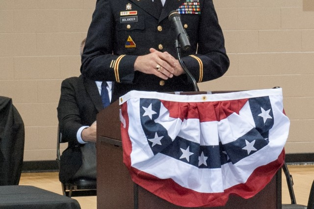 Anniston Army Depot Commander Col. Brent Bolander addressed an audience of approximately 1,200 students, faculty, Veterans and guests at Oxford High School's Veterans Day Ceremony Nov. 10.