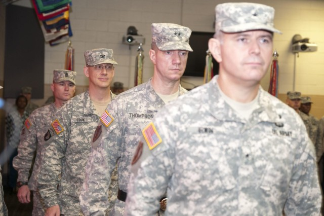 The official party arrives for the 926th Engineer Brigade change of command Nov. 23 at the Maj. David Moniac U.S. Army Reserve Center in Montgomery, Ala. (U.S. Army photo by Staff Sgt. Debralee Best)
