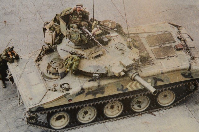 An M551 Sheridan outside the Apostolic Nunciature, the Vatican's embassy, during negotiations for Noriega's surrender.