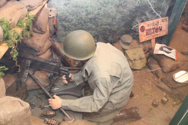 The 7th Infantry Division exhibit at the Lewis Army Museum features a full size diorama of a Korean War Soldier in a fighting position. The gallery opened Dec. 12, and features several artifacts from the division historical collection.