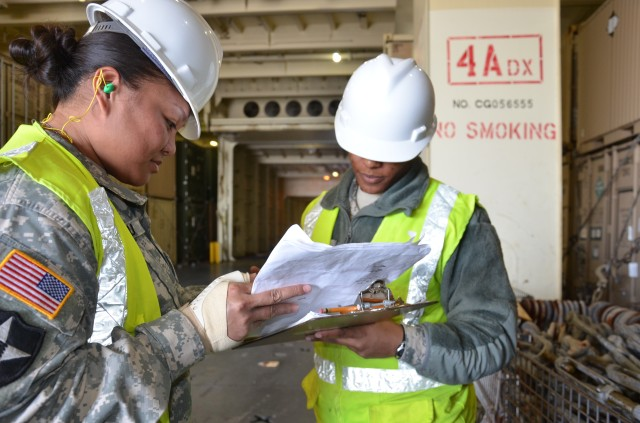 688 RPOE Soldiers verify the load plan for USNS Watkins