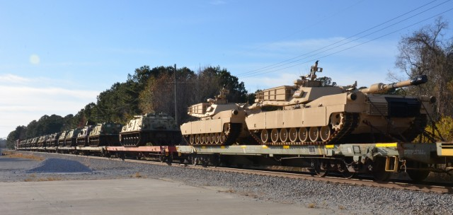 Military vehicles arrive by rail at Joint Base Charleston, S.C.