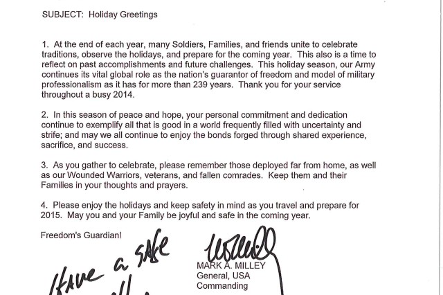 Season\'s Greetings\' from the Commanding General, U.S. Army Forces ...