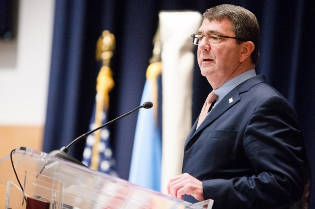U.S. Deputy Secretary of Defense Ashton Carter speaks during the April 2, 2013 renaming ceremony to honor 19th U.S. Secretary of Defense William J. Perry in Lincoln Hall on the Fort Lesley J. McNair portion of Joint Base Myer-Henderson Hall, Washington, D.C. Carter was nominated last year to become the next secretary of defense. If confirmed by the Senate, he will take that position this year.