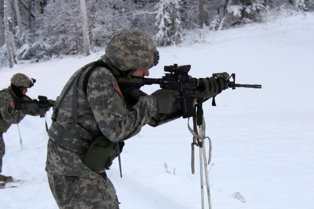 Soldiers from 1st Battalion, 5th Infantry Regiment, 1st Stryker Brigade Combat Team, compete in Operation Bobcat ICE on Fort Wainwright, Dec. 5, 2014.