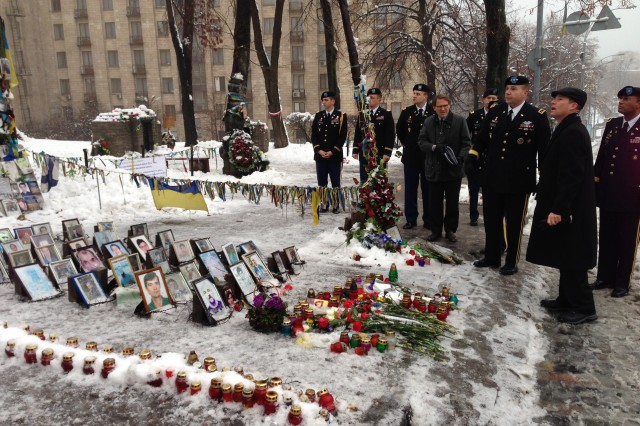 U.S. Army Europe Commander, Lt. Gen. Ben Hodges, tours Maidan in Ukraine Jan. 21. Maidan is the site of the Ukrainian revolution of February 2014, which took place after a series of violent events towards protesters in the capital of Kiev that culminated with the flight and subsequent impeachment of the then-President of Ukraine, Viktor Yanukovych.This was immediately followed by a series of changes in quick succession in Ukraine's sociopolitical system, including the formation of a new interim government, the restoration of the previous constitution, and the call to hold impromptu presidential elections within months.