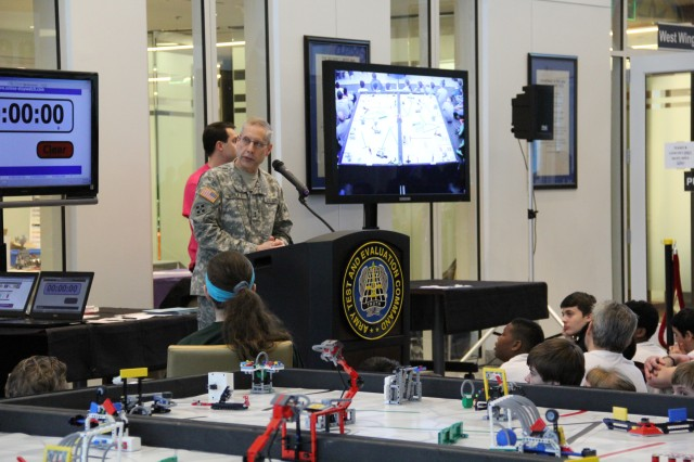 Maj. Gen. Peter D. Utley, commander, U.S. Army Test and Evaluation Command, welcomes students to the 2014 For Inspiration and Recognition of Science and Technology Lego League robotics competition event, January 24 at Aberdeen Proving Ground. Each year, Team Aberdeen Proving Ground partners with the University of Maryland, and Baltimore County, for students age 9-14, as part of the U.S. Army's Science, Technology, Engineering, and Mathematics outreach efforts.