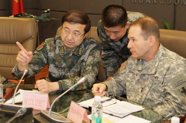Maj. Gen. Edward Dorman, 8th Theater Sustainment Command commanding general, and a team of U.S. military and civilian subject matter experts participate in a three-day Expert Academic Exchange in Guangzhou during China Disaster Management Exchange 2015.