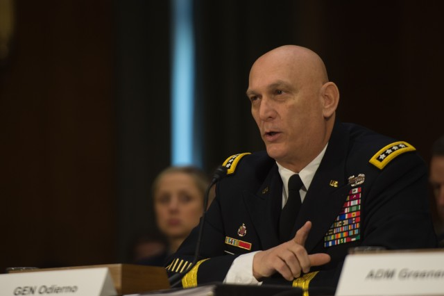 Chief of Staff of the Army General Raymond T. Odierno's testimony on the impact of the Budget Control Act of 2011 and Sequestration on National Security at the Senate Armed Service Committee congressional testimony, Dirksen Senate Office Building, Washington, D.C., Jan. 28, 2015.