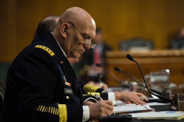 Chief of Staff of the Army General Raymond T. Odierno's testimony on the impact of the Budget Control Act of 2011 and Sequestration on National Security at the Senate Armed Service Committee congressional testimony, which occurred at the Dirksen Senate Office Building, Washington, D.C., Jan. 28, 2015.