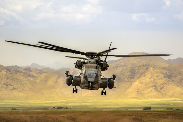 """Maj. Ryan Foley, of Kaiserslautern, Germany, took third place in the military life category of the active-duty military division of the 2014 Army Digital Photography Contest with his photo, """"Marine CH-53."""""""