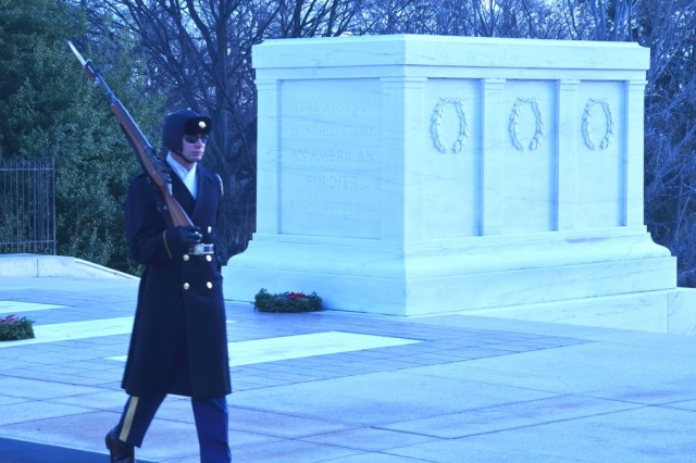 Dawn breaks over the Tomb of the Unknowns on a cold January morning as SGT Luke Porter stands guard.  Porter is a medic with the Old Guard—the 3rd Infantry Regiment—the oldest active-duty infantry unit in the Army.  Porter's family and friends watched as he completed his final tour of duty as sentinel.
