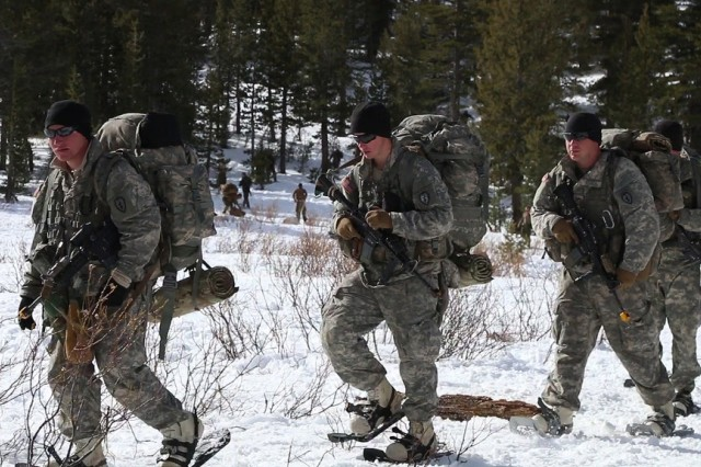 Paratroopers assigned to Able Company, 3rd Battalion (Airborne), 509th Infantry, execute high-altitude mountain mobility operations at the Marine Corps Mountain Warfare Training Center in Bridgeport, Calif., Jan. 26, 2015. The joint training opportunity is part of U.S. Army Alaska's initiative to enhance partnered high altitude cold regions training.