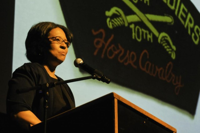 Marilyn Strickland, mayor of Tacoma, welcomes everyone to the Honoring the Past and Embracing the Future event, an American history tribute to the Buffalo Soldiers with a special keynote speaker, Danny Glover, at Tacoma, Wash., Jan. 25.