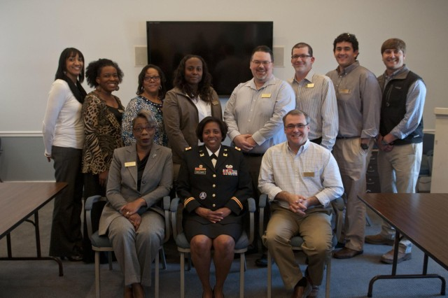 Brig. Gen. Donna Williams, deputy commanding general of Operations, 412th Theater Engineer Command, and Vicksburg, Miss., native, (front center) spoke to Leadership Vicksburg Jan. 27 at the Vicksburg Chamber of Commerce. Leadership Vicksburg is an annual program run by the Chamber of Commerce to provide leaders with a deeper understanding of critical issues effecting Vicksburg and Warren County. The attendees include leaders of the local casinos, hospitals, restaurants, mills and the Vicksburg National Military Park. (U.S. Army photo by Staff Sgt. Debralee Best)