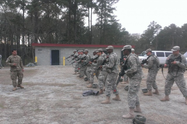 U.S. Army Reserve Soldiers with the 474th Engineer Platoon (Route Clearance) with a detachment from 388th Engineer Company, served as opposing forces for 3rd Battalion, 75th Ranger Regiment during Operation Kick-Punch Jan. 17 to 23. The engineer Soldiers were also taught various skills by the Rangers. Operation Kick-Punch was a multi-component extended combat training focusing on fixed wing airfield seizure. (U.S. Army photo by 2nd Lt. David Park)