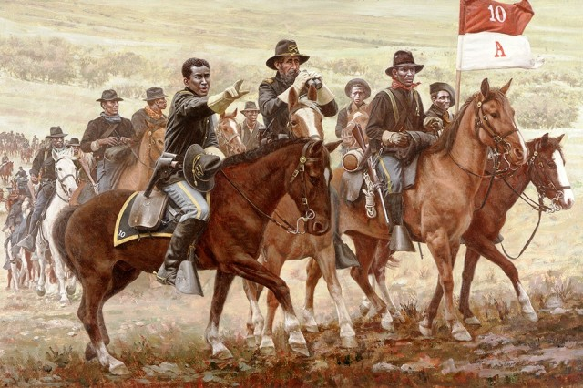 The Buffalo Soldiers, from A Company, 10th U.S. Cavalry, are shown regrouping to move out after battle as Col. Benjamin H. Grierson issues orders to Lt. Henry O. Flipper, the first black graduate of the U.S. Military Academy at West Point, to keep the Chiricahua Apache renegade Victorio bottled up near the Rio Grande.
