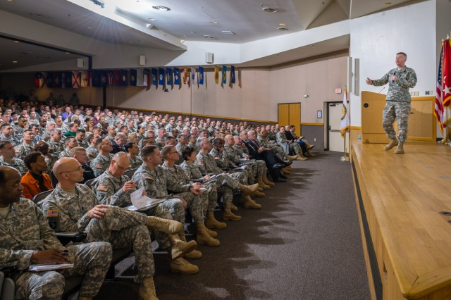 Gen. David Perkins, commanding general of U.S. Army Training and Doctrine Command, addresses Soldiers and civilians during a leader professional development session at Fort Leonard Wood, Mo., Feb. 3, 2015.