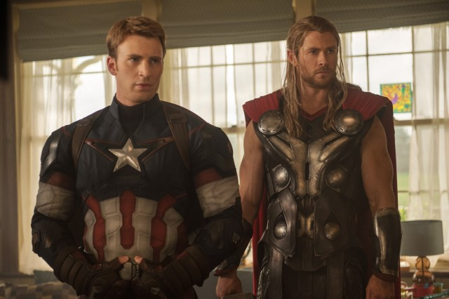 """Chris Evans (left) stars as Captain America alongside Chris Hemsworth's Thor in """"Avengers: Age of Ultron,"""" which hits theaters May 1. (Courtesy photo)"""