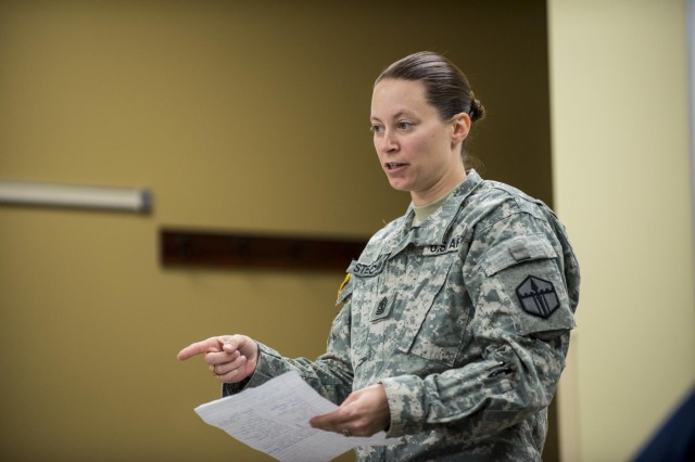 First Sgt. Raquel Steckman is the first woman in the Army appointed to a sapper company as a first sergeant, now with the 374th Engineer Company (Sapper), headquartered in Concord, Calif. (U.S. Army photo by Sgt. 1st Class Michel Sauret)