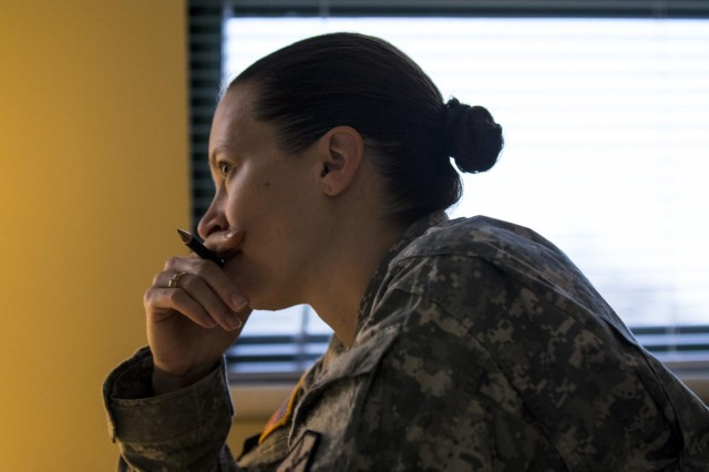 First Sgt. Raquel Steckman is the first woman in the Army appointed to a combat sapper as a first sergeant, now with the 374th Engineer Company (Sapper), headquartered in Concord, Calif. (U.S. Army photo by Sgt. 1st Class Michel Sauret)