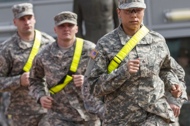 """Drill sergeant candidates from the active component Army, Army Reserve and National Guard run to formation on """"zero day"""" at the U.S. Army Drill Sergeant Academy at Fort Jackson, S.C."""