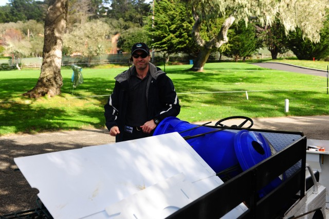 PRESIDIO OF MONTEREY, Calif. -- Service members, in military-leave status, are volunteering at this year's AT&T Pebble Beach National Pro-Am golf tournament. Their efforts are helping to keep the tournament environmentally friendly.