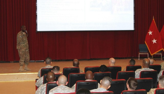 TSC commander provides 'state of the command' to Soldiers