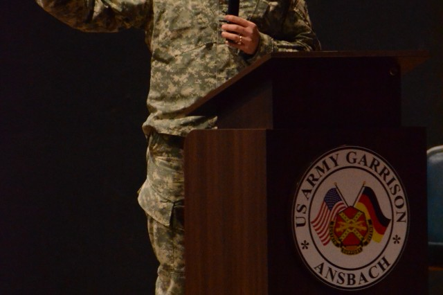 ANSBACH, Germany (Feb. 20, 2015) -- Col. Christopher M. Benson, U.S. Army Garrison Ansbach commander, talks at the Bismarck Kaserne town hall. USAG Ansbach held community town halls at the Storck Barracks and Bismarck Kaserne theaters Feb. 11. (U.S. Army photo by Bryan Gatchell, USAG Ansbach Public Affairs)