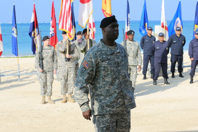 Command Sgt. Maj. Kelvin Broadnax became the third command sergeant major of U.S. Army Garrison -- Okinawa Feb. 20 during an Assumption of Responsibility Ceremony at Torii Station.