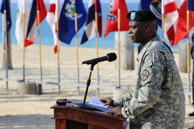 Soldiers, Families and civilians gathered under blue skies at Torii Beach Feb. 20 to officially welcome and formally recognize Command Sgt. Maj. Kelvin A. Broadnax as U.S. Army Garrison -- Okinawa's senior enlisted adviser.