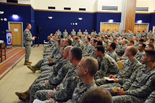 Lt. Gen. Ben Hodges, commander of U.S. Army Europe, speaks to paratroopers assigned to the 173rd Airborne Brigade on Feb. 24, 2015, about their role in Europe and the NATO alliance at Vicenza, Italy. The 173rd Airborne is the Army Contingency Response Force in Europe and maintains close relationships with allies and partners through exercises and events across Europe.