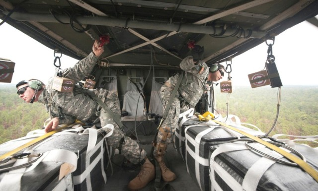 Aerial resupply lands on ground troops