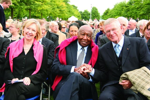 Jefferson Wiggins, center, awaits the beginning of the Requiem concert in 2009 along with his wife, Janice, and Gen. Egon Ramms, commander of the NATO Allied Joint Forces Command Brunssum. Wiggins was honored by the Dutch government for his unit's role in helping to build a cemetery in Margraten during World  War II.