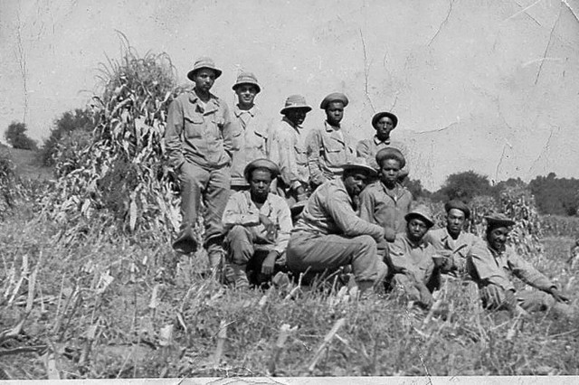 Jefferson Wiggins, first row, third from right, poses with unit members during training before being deployed to Europe.