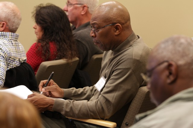 Joe Collins takes notes during the 81st Regional Support Command's civilian retirement seminar, a two-day event held at the 81st RSC Headquarters building on Fort Jackson, S.C.