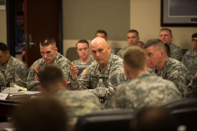 "Army Chief of Staff Gen. Ray Odierno talks to 84 captains from throughout the Army during Solarium 2015 on Fort Leavenworth, Kansas, Feb. 26, 2015. The focus of the discussions was ""The U.S. Army Operating Concept: Win in a Complex World."""