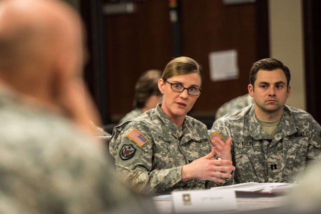 Capt. Rebecca Cooper discusses how to prepare leaders for operating with joint and partner agencies and using their capabilities and knowledge for mutually beneficial solutions during Solarium 2015 on Fort Leavenworth, Kansas, Feb. 26, 2015.