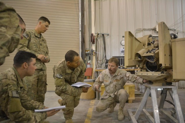 Soldiers from 3rd Battalion, 187th Infantry Regiment look on intently as a training specialist deployed from TACOM Detroit Arsenal, explains how the Common Remotely Operated Weapons Station can be mounted on a vehicle during operator training at Bagram Air Field. CROWS has a sensor suite and fire control software and it can be mounted on more than 20 platforms and accommodate four different weapons. CROWS equipped units can acquire and engage targets while protected inside an armored vehicle.