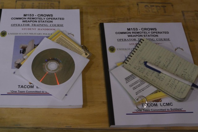Soldiers who complete operator training on the Common Remotely Operated Weapons Station receive a handbook, disc and laminated cards with information on mounting and using the equipment. They also have reach back capability to the trainers located at strategic locations. CROWS has a sensor suite and fire control software and it can be mounted on more than 20 platforms and accommodate four different weapons. CROWS equipped units can acquire and engage targets while protected inside an armored vehicle.