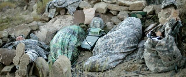 Soldiers sleep during Paktika mission