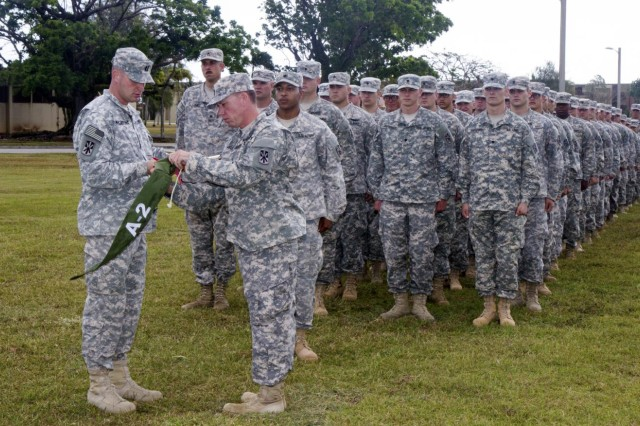 U.S. Army Capt. Joseph McCarthy (left), the commander, and 1st Sgt. Daryl Powell (right), the first sergeant of Battery A, 2nd Air Defense Artillery Regiment, Task Force Talon, 94th Army Air and Missile Defense Command, case their guidon, March 4, 2015, during a transfer of authority ceremony at Andersen Air Force Base, Guam. The ceremony is an official representation of the battery's completion of a 12-month deployment rotation during which they were responsible for providing tactical ballistic missile defense of the island of Guam against any potential threats.  (U.S. Army photo by Sgt. Kimberly K. Menzies, 94th Army Air and Missile Defense Command Public Affairs)