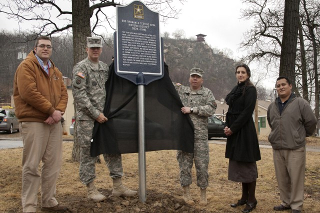 Unveiling of the historic marker for the 600 Ordnance Testing Area Historic District was attended by Jason Huggan, CSM Scott Koroll, Garrison Commander LTC Herb Koehler, Peg Shultz (Morris Co. Heritage Commission), and Christian Urbiola (DPW Chief of Master Planning). This signage was produced as part of a mitigation project with the New Jersey State Historic Preservation Office.