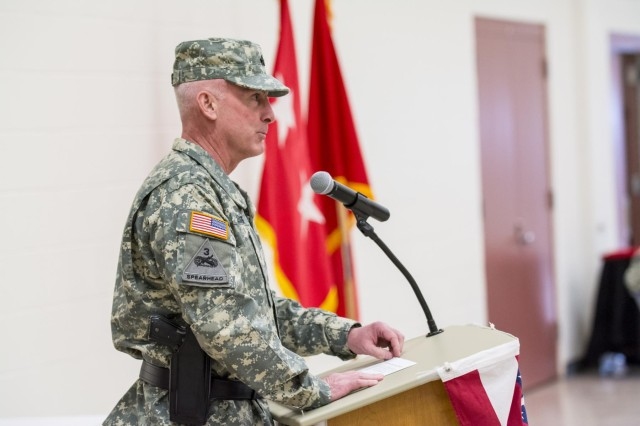 Brig. Gen. Eugene J. LeBoeuf, deputy commanding general for the 416th Theater Engineer Command, speaks for the first time as a newly-promoted general during his promotion ceremony at the Parkhurst U.S. Army Reserve Center in Darien, Ill., March 7. (U.S. Army photo by Sgt. 1st Class Michel Sauret)