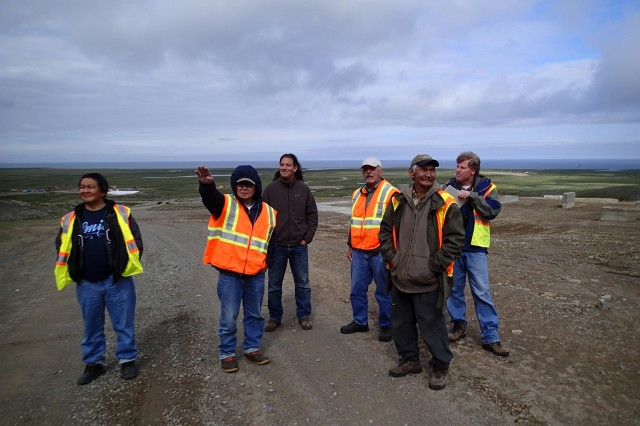 Native Village of Savoonga tribal leadership on site visit to Northeast Cape with representatives from ATSDR and the TAPP advisor.  From left to right: Jesse Gologergen, Paul Rookuk, Sr., Joe Sarcone (ATSDR), Ron Scrudato (TAPP), Ike Kulowiyi, and Andrew Dudley (ATSDR).