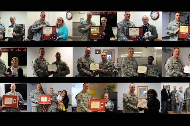 Maj. Gen. Kevin O'Connell recognizes service members and Department of the Army civilians at Rock Island Arsenal, Illinois, March 5. (Photos by ASC Public Affairs)