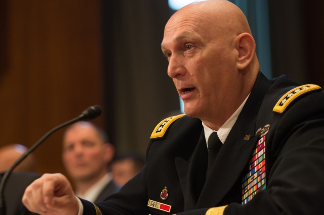 Army Chief of Staff Gen. Ray Odierno answers a question during the Senate Committee on Appropriations hearing in Washington, D.C., March 11, 2015.