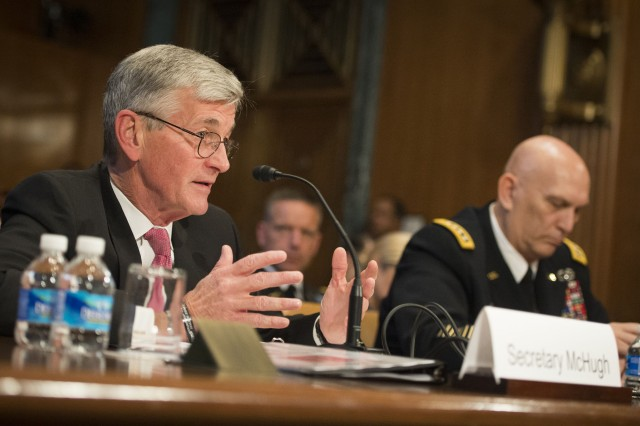 Army Secretary John M. McHugh testifies during the Senate Committee on Appropriations hearing in Washington, D.C., March 11, 2015.